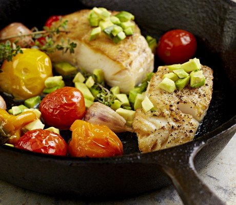 pan roasted sable fish and veggies with avocado – Bruce Law photo
