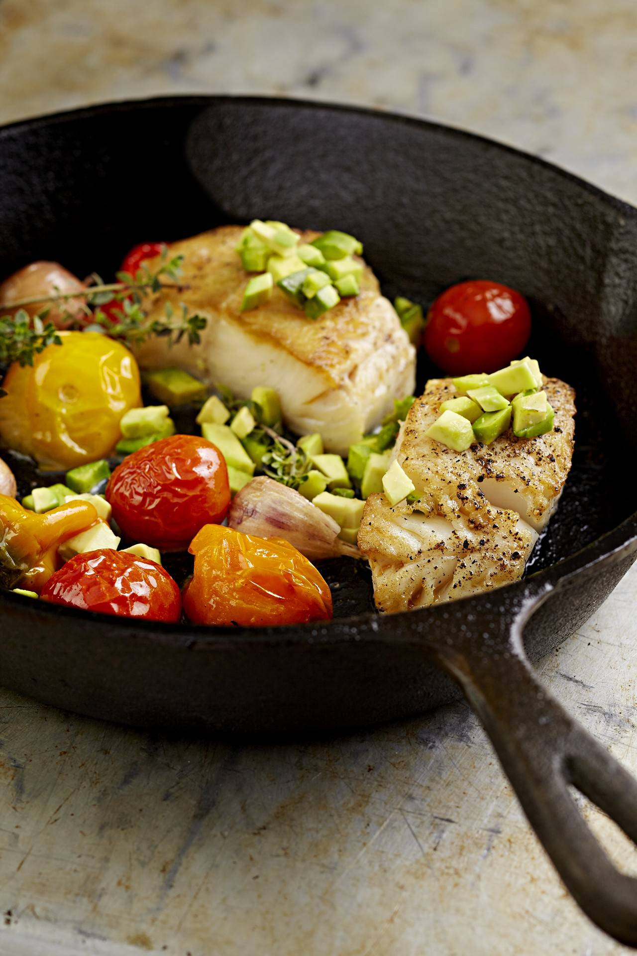 sable fish and pan roasted veggies