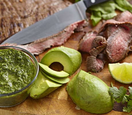 food prep – flank steak, avocados and herbs